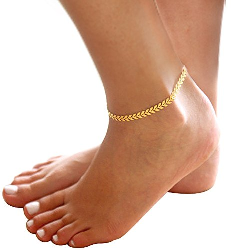 Cute Elegant Fine Golden Anklets Charms Women Beautiful Everyday Jewelry (14k Golden Charm Bracelet)