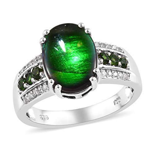 (Promise Ring 925 Sterling Silver Platinum Plated Ammolite Chrome Diopside Jewelry for Women Size 8)