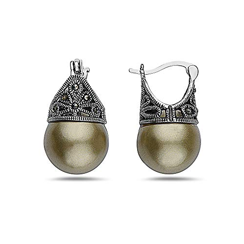 SILVER EMPIRE Fine Jewelry | 925 Sterling Silver Filigree Earrings for Women | Features Marcasite & Colorful Glass Pearls (Olive) | Cap Mounting w/Latch Closure | Oxidized Finish | - Mounting Filigree
