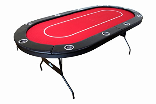 Hot Hand Poker Supply Folding Poker Table for 10 Players with Red Water Resistant Speed Felt (No Assembly Required)