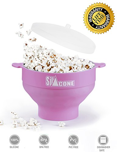 SiliCONE - Microwave Popcorn Popper - Excellent Popcorn Maker for Home - BPA-PVC Free Silicone - Collapsible Bowl with Handles and Lid - Healthy Choice - Easy to Use and Wash - Method E-Book Included