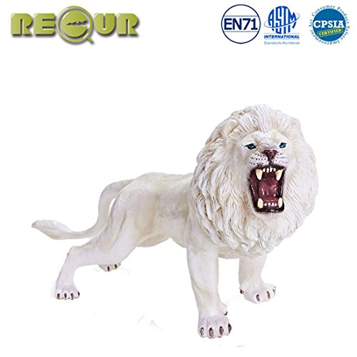 RECUR Toys White Lion Action Figure Toys, Soft Hand-Painted Skin Texture Leo Simba Toys for Kids- 1:10 Scale Realistic Design Lion Replica Feline Animal 9.25inch, Ideal for Collectors, Ages 3 and Up