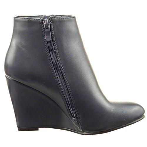 Moda Donna Sopily Da Low Stivaletti Scarpe Boots Alla Zipper Blu IvqT1q