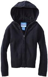 Nautica Little Girls\'  Uniform Sweater Hoody, Navy,L(6)