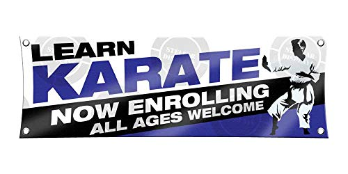 Learn Karate (1ft X 3ft) Banner Enroll Sign Martial Arts School Academy Display Registration Poster Blue