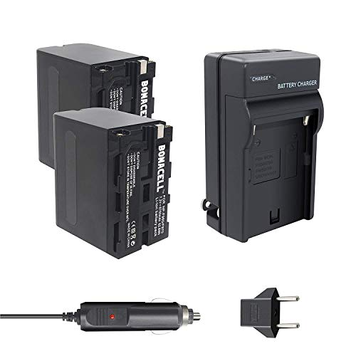 Bonacell 8700mAh 2Pack Replacement NP-F960/ NP-F970 and Charger Kit Compatible with Sony DCR-VX2100 HDR-AX2000 FX1 FX7 FX1000 HVR-HD1000U V1U Z1P Z1U Z5U Z7U HXR-MC2000U FS700U and LED Video Light (Replacement Np F960)
