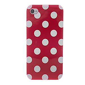 White Round Dots Pattern Soft Case for iPhone 4/4S (Assorted Colors) --- COLOR:Blue