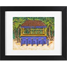 Tiki Bar - Tropical Beach House Picture Ocean Shore Framed Art Print