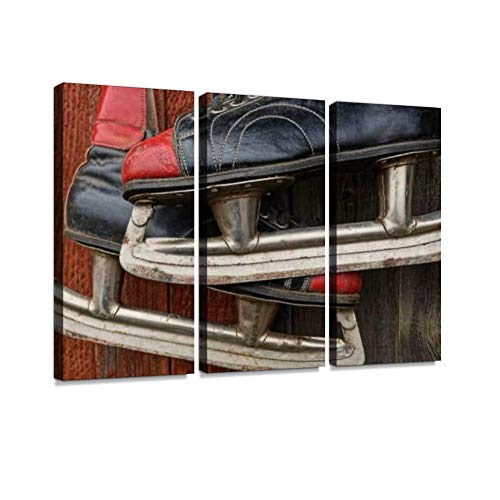 7houarts Old Colored Skates Hang on a Wooden Wall Canvas Wall Artwork Poster Modern Home Wall Unique Pattern Wall Decoration Stretched and Framed - 3 Piece