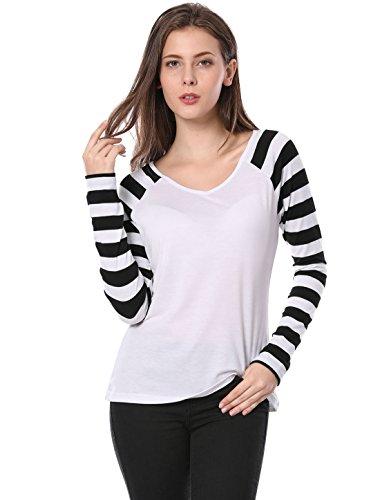 shirt Allegra Longue Femme T Col Black Raglan V Rayé White K Manches 0f0qrgp