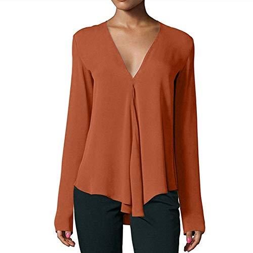 en DContract Col Daily LGer Automne V LaChe VJGOAL Femmes Manches Mousseline Orange Tops Solides De Tops Mode Soie Chemises Longues Blouses en 4xvqwS