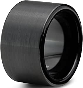 Tungsten Wedding Band Ring 12mm for Men Women Comfort Fit Black Pipe Cut Brushed Size 4