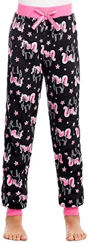 Jellifish Kids Girls Plush Pajama Bottoms - Fleece Print Jogger Sleep Pants