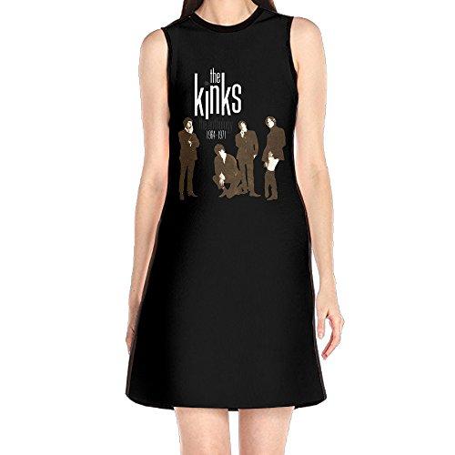 GHHK Women's The Kinks Band Member Sleeveless Casual Tshirt Dress White S (Lola Sleeveless Skirt)