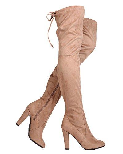 Breckelles Pamela 09 Kvinner Over Kneet Blokken Hælen Snor Mandel Tå Støvler Naturlig
