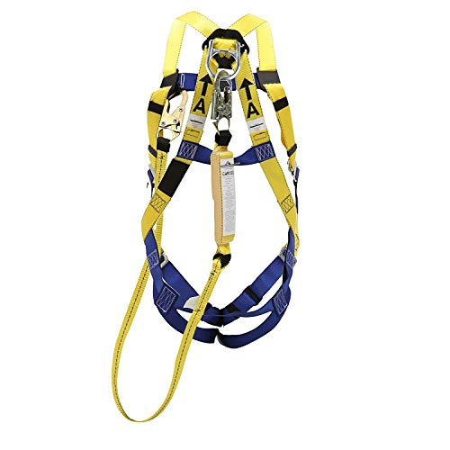 Peakworks Fall Protection V8252356 Compliant Safety Harness and 6 ft. Lanyard Kit, Universal Fit, Polyester Webbing, (2) Snap Hooks
