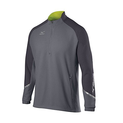 Mizuno Elite 1/2 Zip Pullover, Grey-Charcoal, X-Large