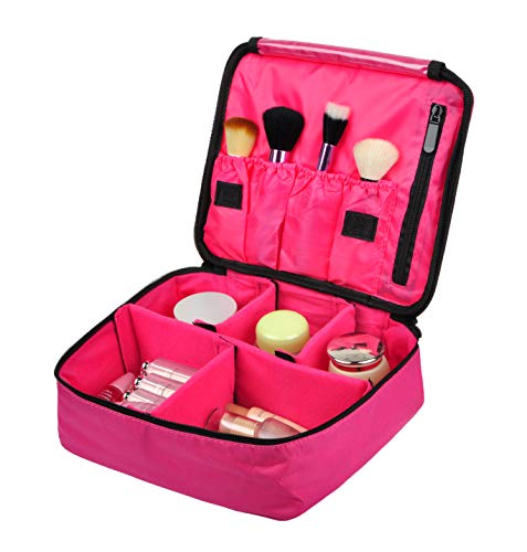 Vercord Travel Makeup Cosmetic Train Case Portable Brushes Case Toiletry Bag Travel Kit Organizer Cosmetic Bag C Rose