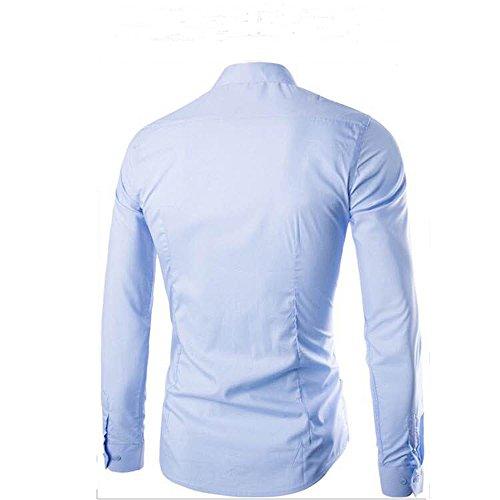 Blu Uomo Resistenti Chiaro Elegante Camicie A Alle Gdtime Da Maniche Uomo Vestibilità Regolare Lunghe Tinta Rughe Casual Unita 1awqwYTC