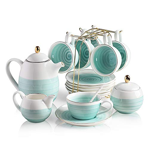 Sweejar Porcelain Tea Sets,8 oz Cups and Saucer Teaspoon Set of 6, with Teapot Sugar Bowl Cream Pitcher and tea strainer for Tea/Coffee,Afternoon Tea pot ()