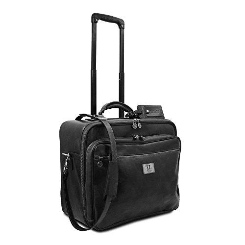 Tuscany Leather - Varsavia - Pilot case en cuir avec deux roulettes - Noir
