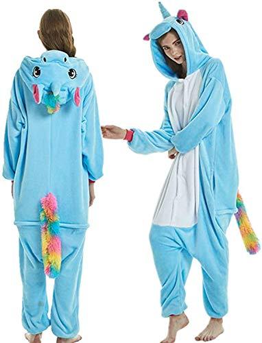 Kigurumi winterpyjama, dieren-pyjama, eenhoorn, pyjama, eendelig, uniseks, volwassenen, flanel, nachtkleding