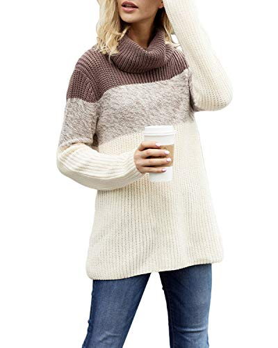 Donna Lunga Size Alto Coffee Coffee Block Colorati color Blocchi Collo A Color 2xl Manica Mifusanahorn Con qwKUxOv5x