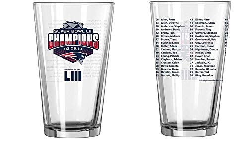 New England Patriots Super Bowl 53 LIII Champions Team Roster 16 Ounce Pint Beer Glass
