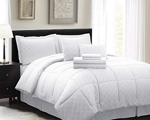 Spirit Linen Home Comforter 10 Piece Comfy Sleep Wellness Bed in A Bag Complete Bedding Set with Sheets (White, Queen)