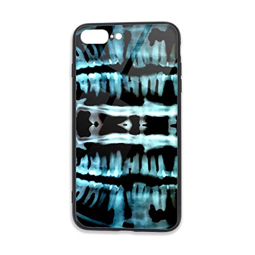 Cellphone Case with TPU Bumper and Tempered Crystal Clear Glass Back Compatible for iPhone 7/8 Plus Printed Designs Full Body Protection and Soft Spooky Skeleton Teeth ()