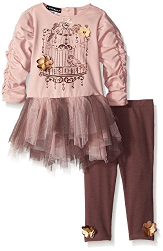 Kate Mack Baby-Girls Heart Of Gold Tunic and Legging, Cocoa, 12 ()
