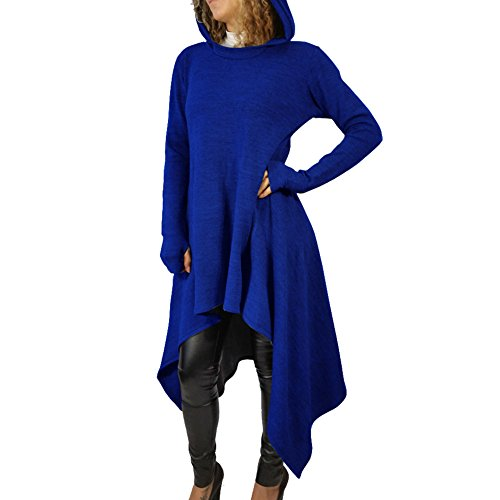 Bodycon4U Womens Irregular Hem Long Sleeve Knitted Panel Hooded Casual Sweatshirt