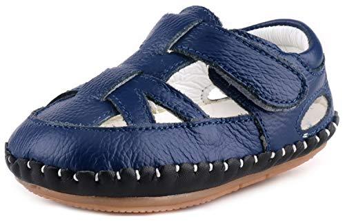 (LONSOEN Baby Boys Girls Genuine Leather Sandals Summer Outdoor Pre-Walker Water Shoes(Infant/Toddler) KSD010 Deep Blue CN19)