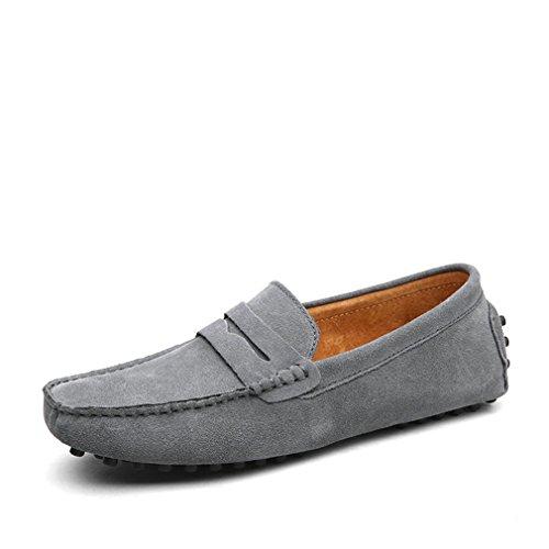 en d'été chaussures véritable conduite mocassins Style mocassins appartements cuir chaussures Mode Gray hommes doux Lumino hommes pax540wqB