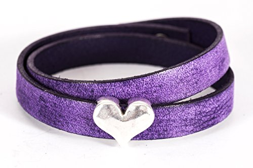 (Silver Heart and Distressed Purple Leather Double Wrap Bracelet )