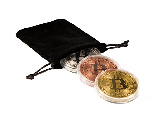 Bitcoin Commemorative Coin | 3 PCS Set (includes Copper / Silver / Golden Color) with Round Display Case | Cryptocurrencies are an Great Gift Idea for HODL Fans | Crypto - Graduation Ideas Token