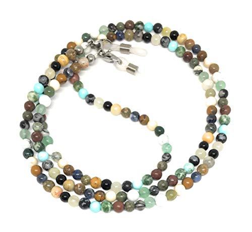 multi gemstone stone eyeglass chain for reading glasses