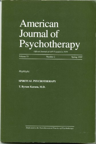 Book cover from American Journal of Psychotherapy Volume 52 Number 2 by T. Byram Karasu