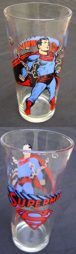 Superman Pepsi Collector Series Vintage Glass 1975 DC Comics - Pepsi Vintage Glasses