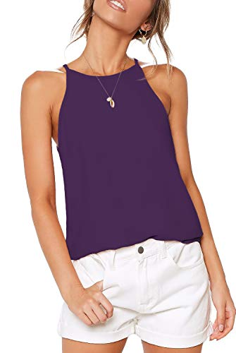 THANTH Womens Tops Halter Sleeveless Tank Tops Sexy High Neck Summer Cami Tops Spaghetti Strap Shirts Casual Racerback Tops Basic Cute Junior Shirts Tops Blouses Purple L