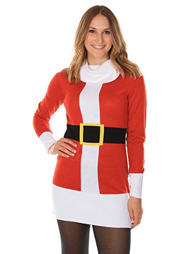 3e14bb61d6 Women s Ugly Christmas Sweater - Santa Claus Sweater Dress Red ...