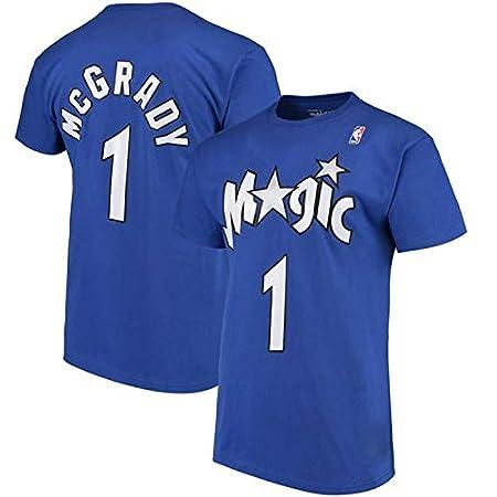 WLDSH Kurzarm-Basketball McGrady Magic 1st T-Shirt Loose Training Sportswear Shirt Herren Farbe : Blau, gr/ö/ße : S