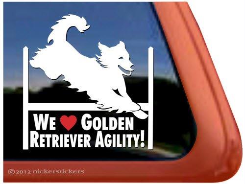 Golden Retriever Agility - We Love Golden Retriever Agility! ~ Agility Dog Agility Golden Retriever Vinyl Window Decal Sticker