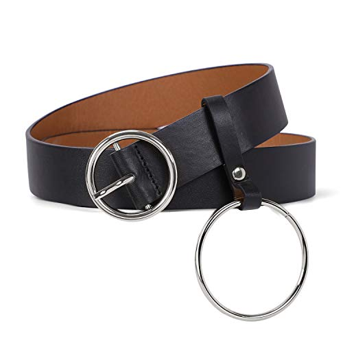 Women Black PU Leather Belt for Pants, Ladies Plus Size Wide Waist Belts with Silver O Ring Buckle