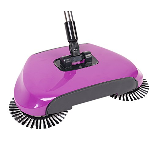 360 Degree Rotating Household Automatic Hand Push Sweeper Broom, Multi-Functional Profession Vacuum Cleaner Sweeping Robot without Electricity , 3 in 1 Dustpan and Trash Bin Floor Cleaning System by YOUBEST