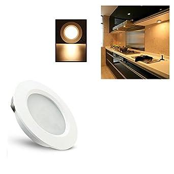 HKLIFE LED Under Cabinet Lighting Kit, 3W LED Puck Lights Recessed Mount  Design For Kitchen