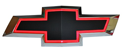 Illuminated Light Up LED Front Grille Bowtie Textured Emblem (Black, Red) Fits 2010-15 Chevy - Camaro Black Bowtie