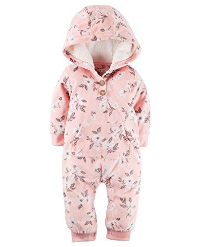 Carters Baby Girls Hooded Fleece Jumpsuit - Pink Flowers Button-18M (Enterprise Jumpsuit)
