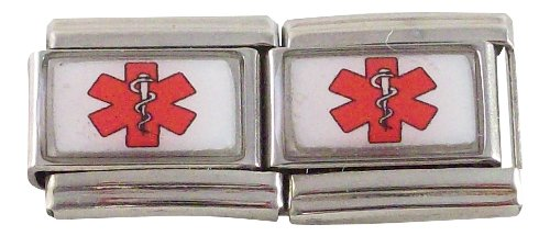 - 2 Red Medical ID Alert Star of Life Italian Charms for Bracelet