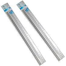 Officetek (2 Pack) 12 inch Aluminum Ruler Straight Ruler Math Rulers